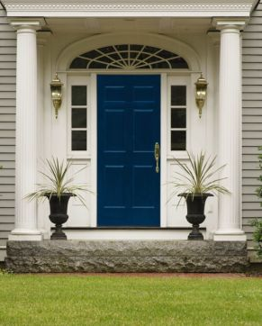 Navy door with, double sidelights, and tall planters plus more awesome doors on surroundedbypretty.com