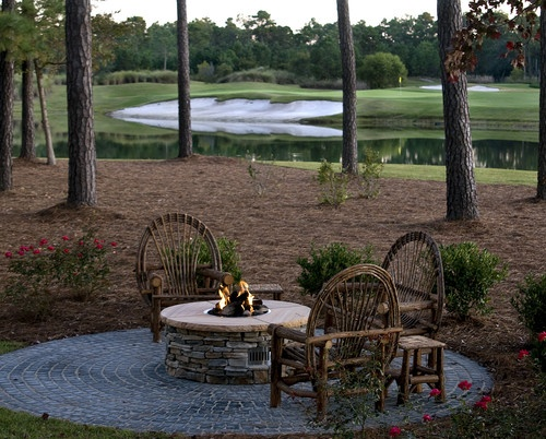 Rustic chairs, slate fire pit, lake, circle patio, surroundedbypretty.com