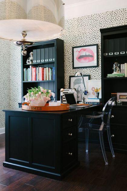 Thibaut Tanzania wallpaper, ghost chair, black desk, hermes tray