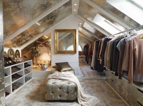 Metallic closet in the attic