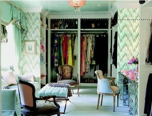 Mint closet with seating