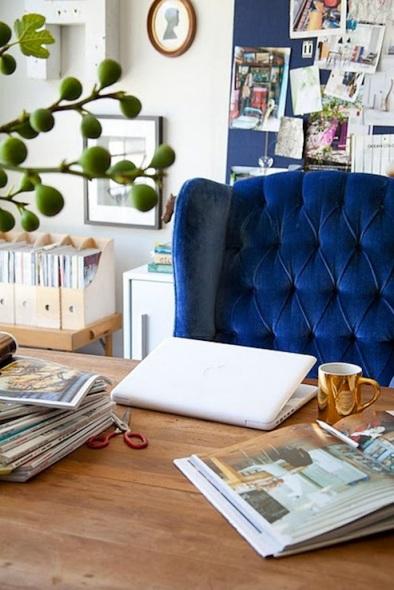 Emily Henderson blue velvet tufted wing back desk chair