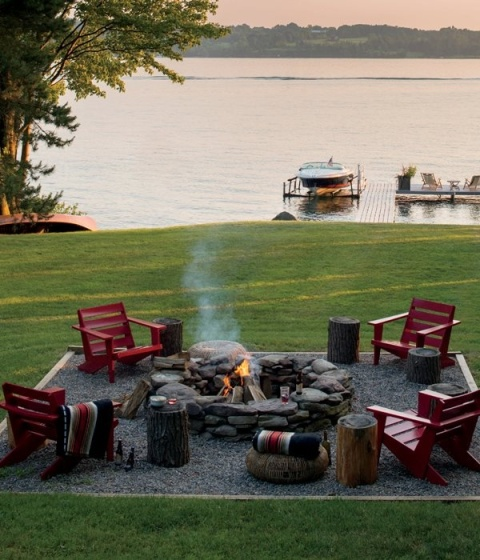 Stone fire pit, back yard on a lake, surroundedbypretty.com
