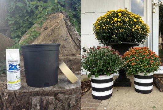 DIY Black and White Striped Planters for mums on surroundedbypretty.com
