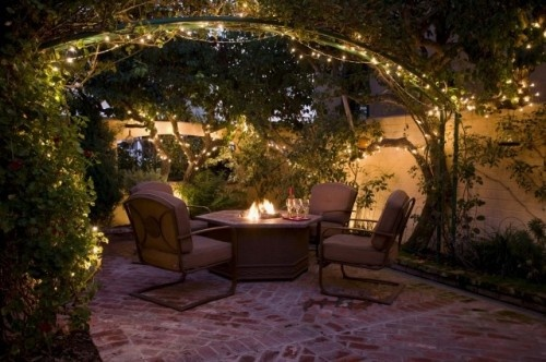 Fire pit, brick patio, string lights backyard, surroundedbypretty.com
