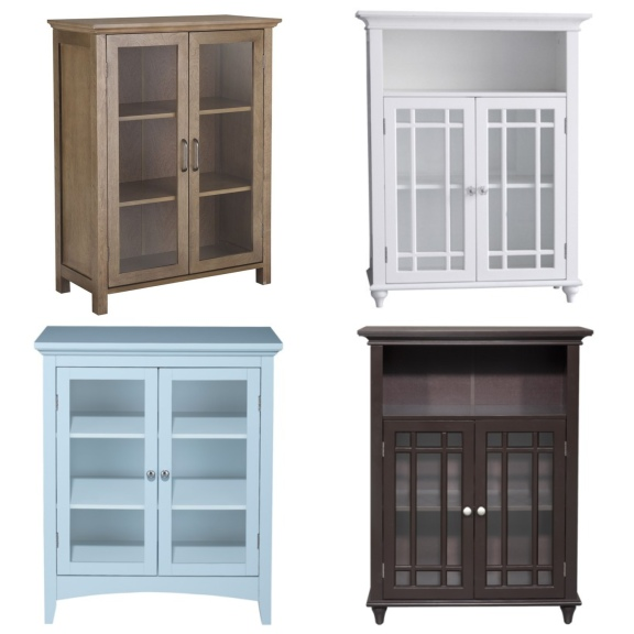 Use an affordable glass door floor cabinet to show off shoes and handbags