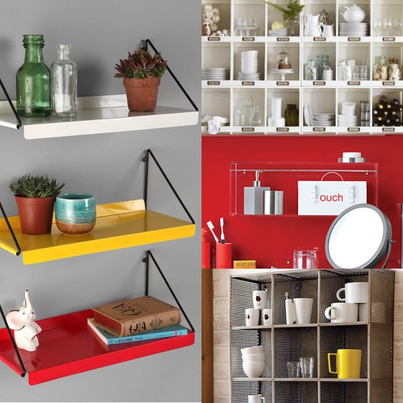 Wall mounted shelving styled all pretty make for great organization on surroundedbypretty.com