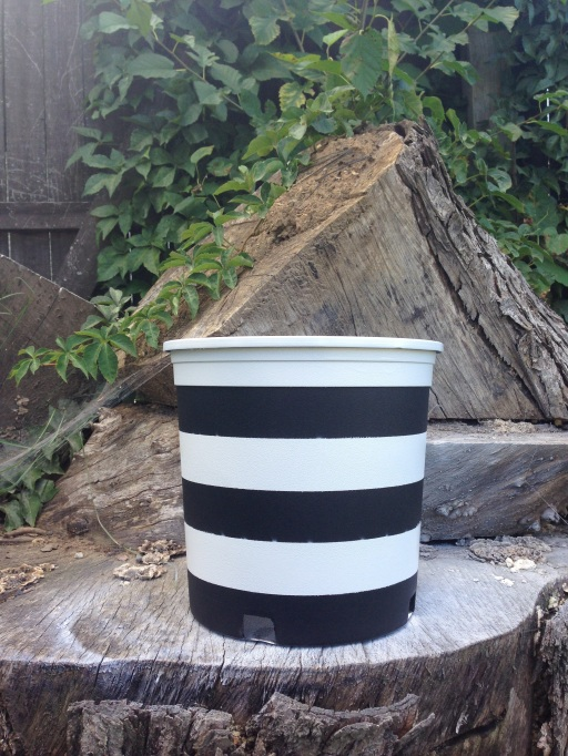 DIY Black and white striped planters