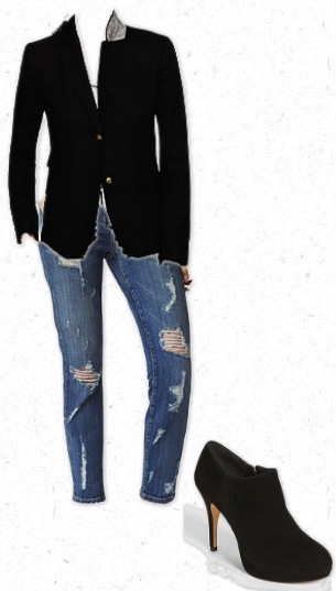 Pair and blazer with ripped jeans, white t and killer booties for a fun fall outfit surroundedbypretty.com