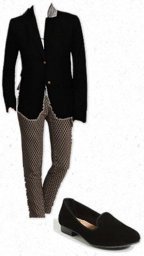 J.Crew blazer, patterned pants, and smoking loafer is a great business casual fall outfit surroundedbypretty.com