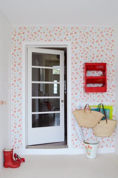 Floral mudroom with red accents
