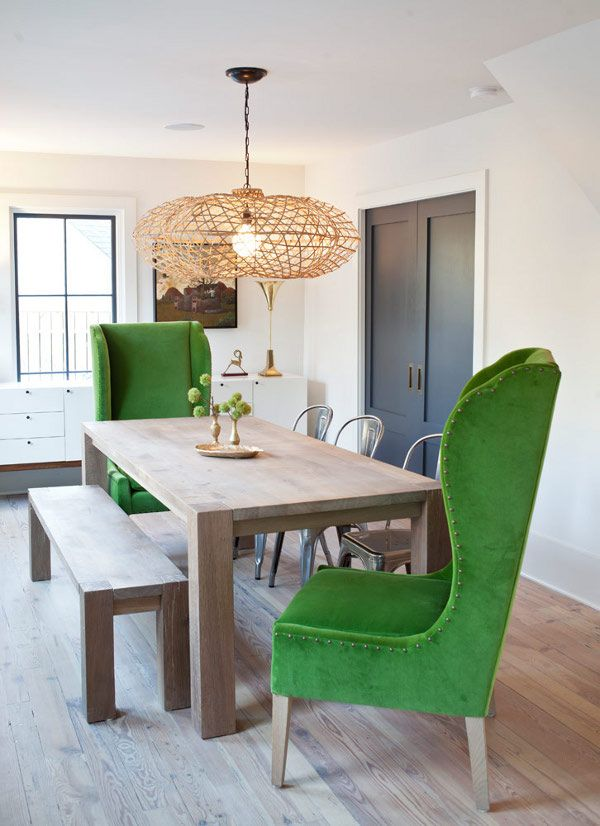 Green wingback chairs in the dining room, get the look on surroundedbypretty.com