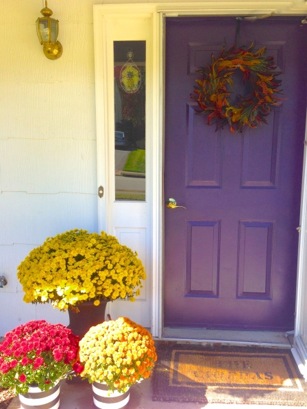 DIY striped planters, mums, front door on surroundedbypretty.com #falldecor #autumn
