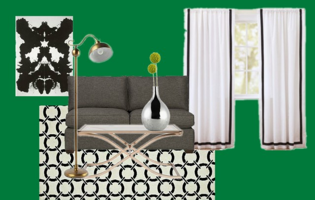 Black white and green luxurious living room on surroundedbypretty.com