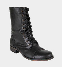 Combat boots as a staple during this icky weather on surrounded by pretty.