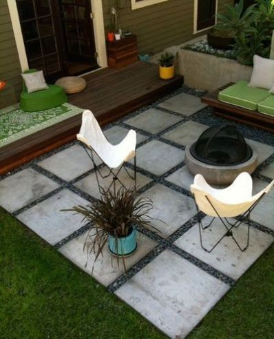 oversized pavers are a quick fix for a fire pit locale on surroundedbypretty.com