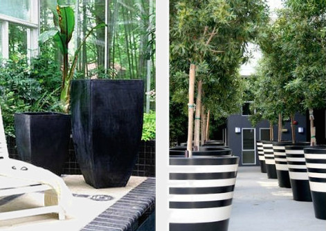 oversized planters to help add height to a low deck on surroundedbypretty.com